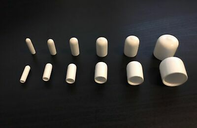 Assortment of White Vinyl (Rubber) Round End Caps Tubing 5 x 20 of each size=100