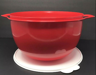 Tupperware Mega Thatsa Bowl 42 Cups Chili Red w/ White Seal Brand New