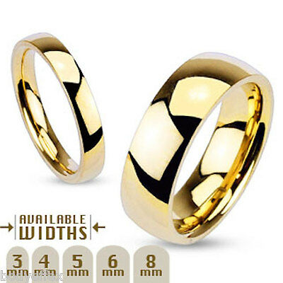 Classic Mens Womens 316L Stainless Steel Gold Ip Polished Wedding Band Ring