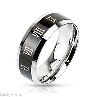 Bold Mens Womens Stainless Steel Black Ip Beveled Edge Band Ring Roman Numerals