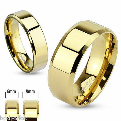 Hot Mens Womens Gold Ip Over Stainless Steel Beveled Edge Flat Wedding Band Ring