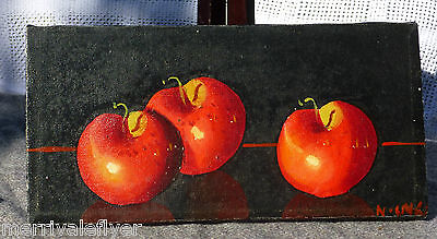 Antique Oil Painting Heirloom Apples American Primitive Original  on Canvas