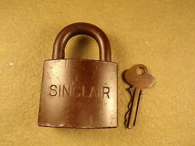 Vintage SINCLAIR Oil Company Brass Padlock Early 1900's Old Gas Oil