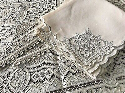 A+ 13 Pc Chinese Great Wall Hand Embroidered 8 Placemats 4 Napkins Table Runner