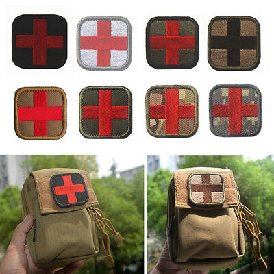 outdoor survival first aid cloth cross hook loop fastener badge patch Pip