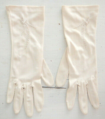 Kayser cream vintage mid-length dress gloves with embroidery size 7