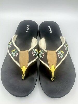 25e10d99bdad J CREW Womens Sz 6.5 M Navy Blue Nautical Rope Anchor Sport Sandals Flip  Flops