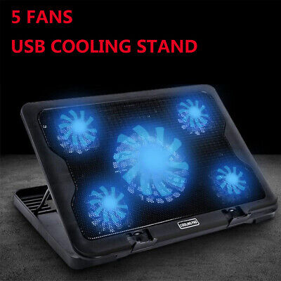 """Adjustable Height Laptop Notebook Cooling Pad Stand 5 Fans LED Blue For 7""""-17"""""""