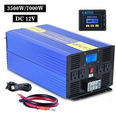 CATUO Power Inverter 3500W 7000W Pure Sine Wave 12V dc to ac 120V LCD Display