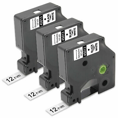 3PK Compatible  DYMO D1 45013 Black on White 12mm 0.47 In Label Tape LM350 LP350
