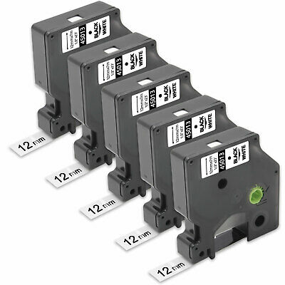 5PK Compatible  DYMO D1 45013 Black on White 12mm 0.47 In Label Tape LP350 LM450