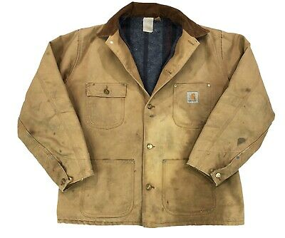 df8a6ae8bf Vintage Carhartt Blanket Lined Jacket Light Brown Mens XL Made In USA 90s  Work