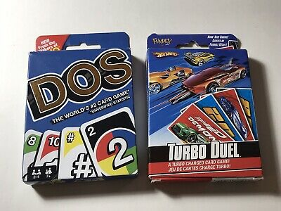 UNO DOS Card Game and Turbo Duel Card game Bundle.