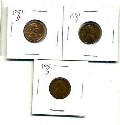 1951 P,d,s Wheat Pennies Lincoln Cents Circulated 2X2 Flips 3 Coin Pds Set#4205