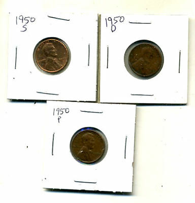 1950 P,d,s Wheat Pennies Lincoln Cents Circulated 2X2 Flips 3 Coin Pds Set#4481