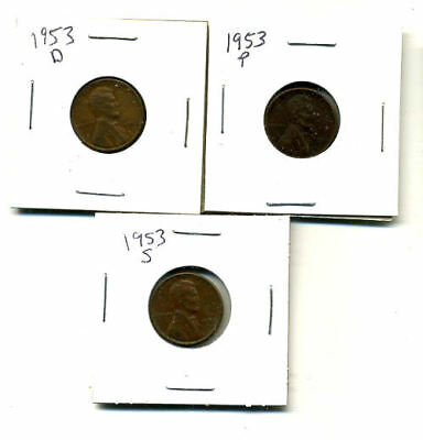 1953 P,d,s Wheat Pennies Lincoln Cents Circulated 2X2 Flips 3 Coin Pds Set#3937