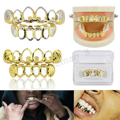 24k Gold Teeth Grill Plated Mouth Grills Bling Hip Hop Top Bottom Grill Set
