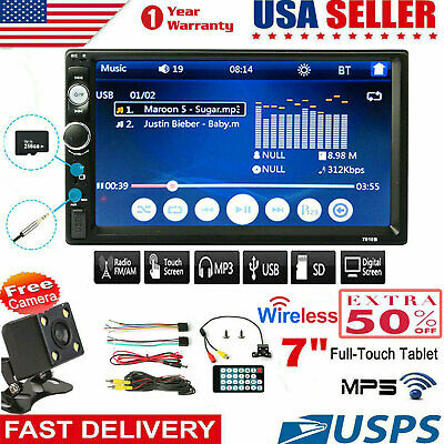 """7"""" Stereo Bluetooth Car 1080P MP5 Player Radio Touch Screen FM/AUX/USB/TF+Camera"""