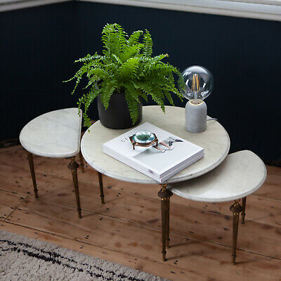 Nest of Louis XVI style side table and two half-moon tables with gilded legs.