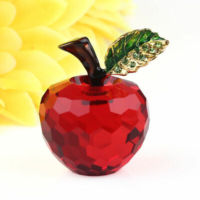 3D Cut 40mm Crystal Glass Apple Ornament Paperweight Home Wedding Decoration Red
