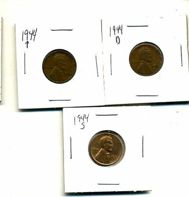 1944 P,d,s Wheat Pennies Lincoln Cents Circulated 2X2 Flips 3 Coin Pds Set#3523