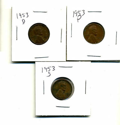 1953 P,d,s Wheat Pennies Lincoln Cents Circulated 2X2 Flips 3 Coin Pds Set#3907