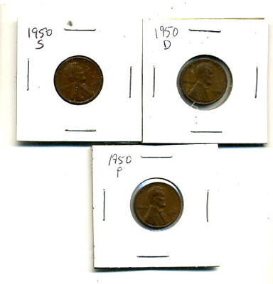 1950 P,d,s Wheat Pennies Lincoln Cents Circulated 2X2 Flips 3 Coin Pds Set#4276