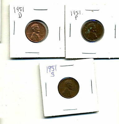 1951 P,d,s Wheat Pennies Lincoln Cents Circulated 2X2 Flips 3 Coin Pds Set#4064