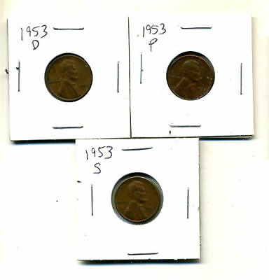 1953 P,d,s Wheat Pennies Lincoln Cents Circulated 2X2 Flips 3 Coin Pds Set#3913