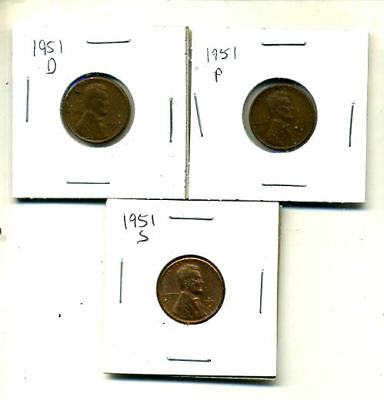 1951 P,d,s Wheat Pennies Lincoln Cents Circulated 2X2 Flips 3 Coin Pds Set#4079
