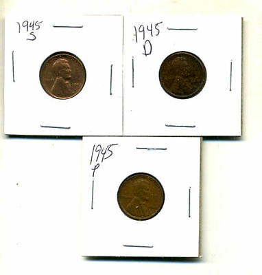 1945 P,d,s Wheat Pennies Lincoln Cents Circulated 2X2 Flips 3 Coin Pds Set#3383