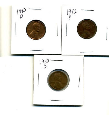 1942 P,d,s Wheat Pennies Lincoln Cents Circulated 2X2 Flips 3 Coin Pds Set#3185