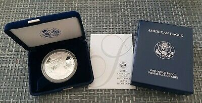 2004-W U.S. SILVER BULLION AMERICAN EAGLE 1oz PROOF One Dollar w/ COA & Box