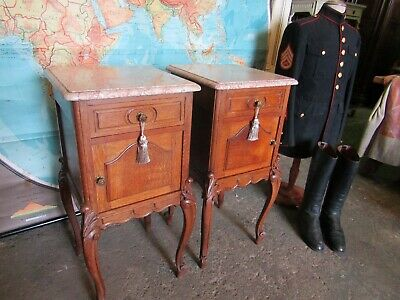 Quality pair antique French carved oak bedside tables cabinets with marble tops