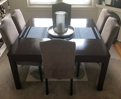 Square Solid Wood Dining Table - Dark Mahogany Brown & 6 matching chairs