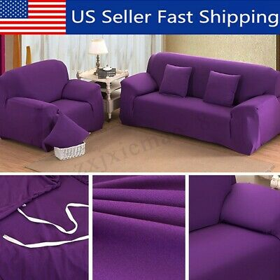 Purple Stretch Chair Loveseat Sofa Cover 1/2/3/4 Seater Couch Polyeste Slipcover