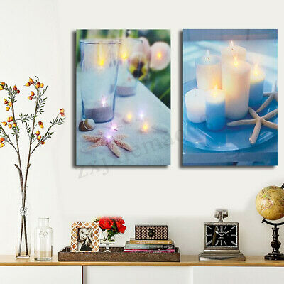 Modern LED Lighted Candle Beach Canvas Art Picture Print Home Wall Hanging Decor