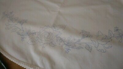 Tablecloth to embroider circular 120cm  with lace edge flowers cotton CSO107