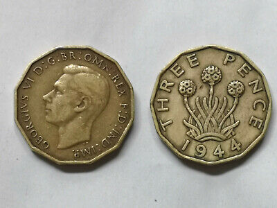 1937 to 1952 King George VI Brass Three Pence Coin – Choice of Year/Date