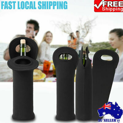 3Pcs Single Wine Bottle Holder Single Neoprene Beer Can Cooler Bag Carrier Black