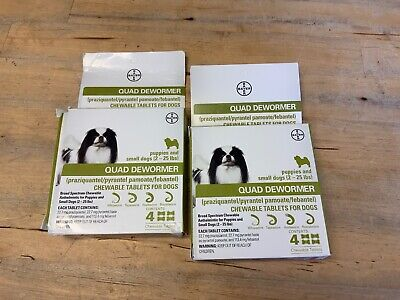 Bayer Quad Dewormer SMALL Dogs (2-25lbs) 4 Chewable Tablets NEW LOT OF 2 Boxes