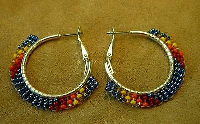05e308328 Handcrafted Blue Beaded Hoop Silver Earrings - Native American Indian