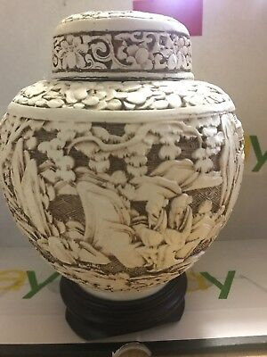 """Vintage Chinese White carved Cinnabar ginger Jar with Lid Enamel 6 1/2"""" tall"""