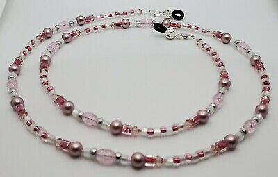 Metallic Pink Crackle Ice Austrian Crystal & Pearl Eyeglass Chain Holder