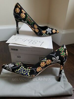 9f557fdcf1dd1 NWT Manolo Blahnik BB 90mm Floral Embroidered heels pumps size 38.5 US 8 8.5