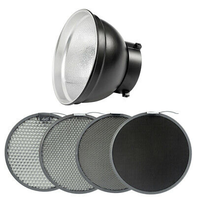 55° Reflector with 4x Honeycomb Grid for Studio Flash Lighting Modifiers