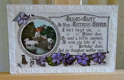 Antique greetings postcard Bright & Happy be your Birthday Sister RP verse c1918