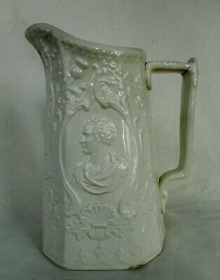 Antique Scottish Relief Mooulded Pottery Jug With Portrait Busts And Thistles