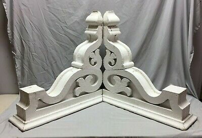 Pair Extra Large Antique White Roof Corbels Cornice Shabby Vtg Chic Old 53-19M