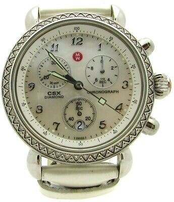 Michele Csx Diamond Chronograph Watch 71 3600 Mother Of Pearl Dial Bezel Ivory